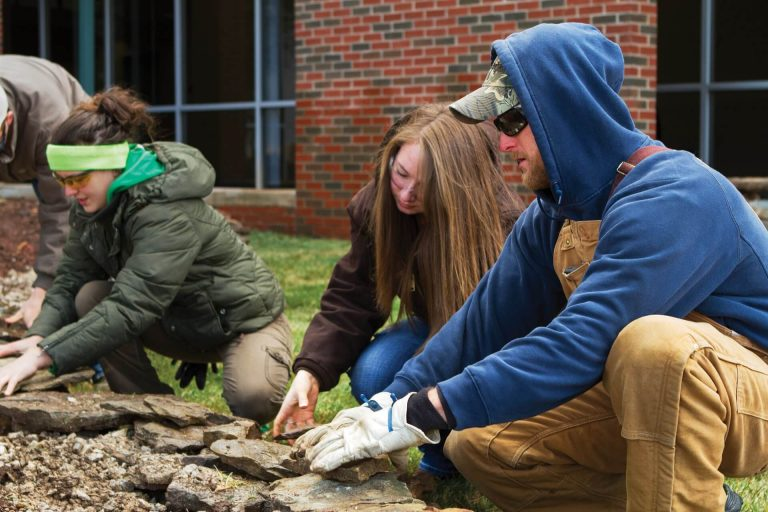 Turf and landscape management students building an outdoor rock feature together