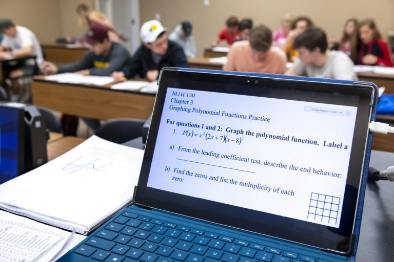 A math student's tablet displaying geometry classwork